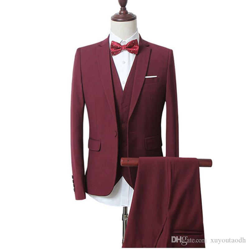 2018 Men Suits Burgundy Wine Red Notched Lapel Business Tuxedo Wedding Suits Groom Slim Fit Formal Prom Blazer Best Man Evening Dress 3Piece