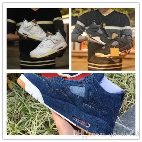 Yeni 4 IV Siyah beyaz mavi erkekler basketbol ayakkabı eğitmenler jean spor sneakers açık EN kaliteli boyutu 7-13
