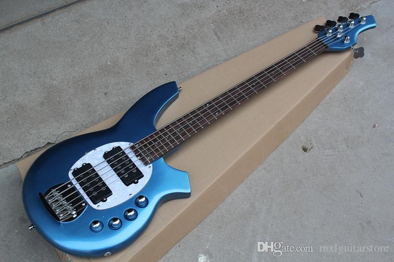 Mavi vücut 5 Dizeleri Elektrik Bas ile 2 Makaslar, Beyaz İnci Pickguard, Gülağacı klavye, teklif özelleştirilmiş