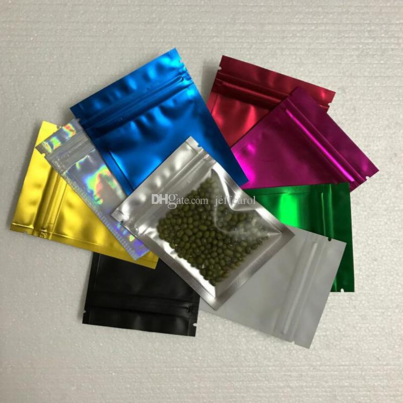 300pcs/Lot 7.5*10cm Colored Aluminum Foil Self Seal Plastic zipper Bag Packaging For Food Snack Storage Matte Clear Mylar Baggies