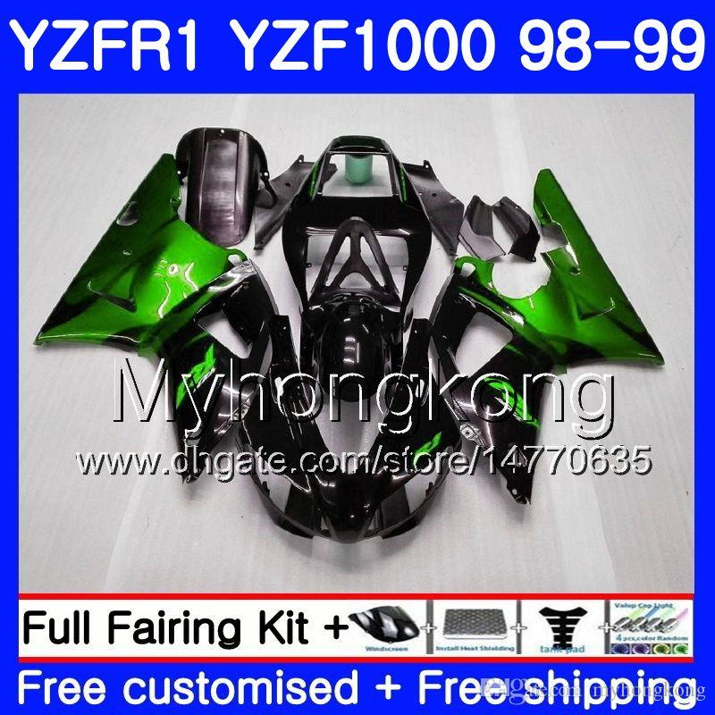 Carrozzeria per YAMAHA YZF R 1 YZF 1000 YZF1000 YZFR1 98 99 Telaio 235HM.0 YZF-1000 YZF-R1 98 99 Corpo YZF R1 1998 1999 Carenatura Fiamme verdi blk