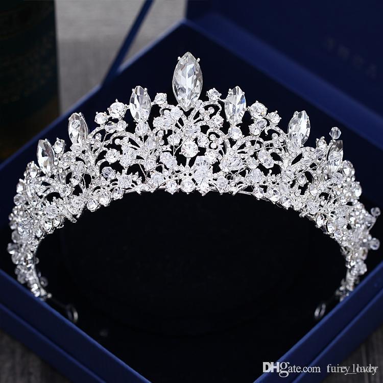رائع الأميرة الكبيرة التيجان الزفاف جوهرة أغطية الرأس التيجان للنساء الفضة معدن الكريستال حجر الراين الباروك الشعر رباطات