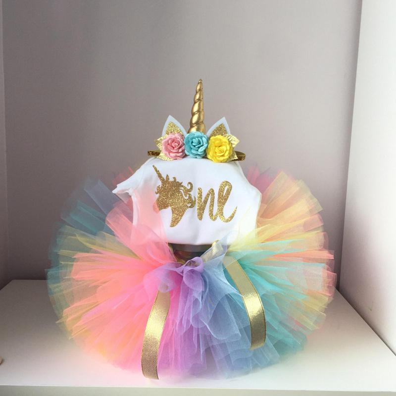 New Born Baby Girl Dress Infant Clothes Summer Kid Unicorn Party Birthday Outfits 1 Year Set Baby Kids Girls Christening Gown Y18102007