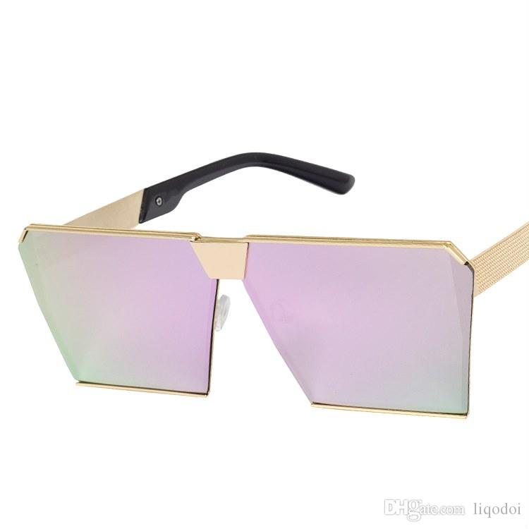 Nuevo marco cuadrado sol mujer diseñador marca oculos gafas hombres espejo moda plana gafas de sol reflectante sombras grandes uv400 nepro