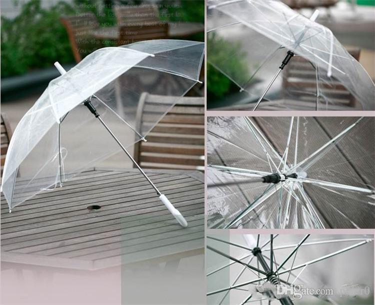 حار بيع شفاف واضح evc مظلة مقبض طويل مظلة المطر الشمس نرى خلال ملون مظلة المعطف الزفاف صور