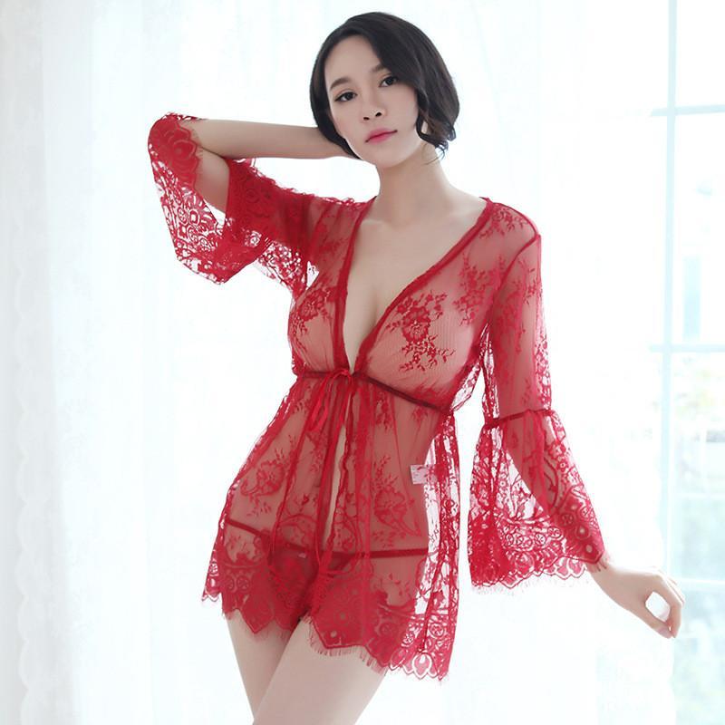 Искушение Горячей Сексуальное Женское Белье Кружева Платье Шаль 2 Шт Набор Женщин Прозрачность Сетки Пижамы