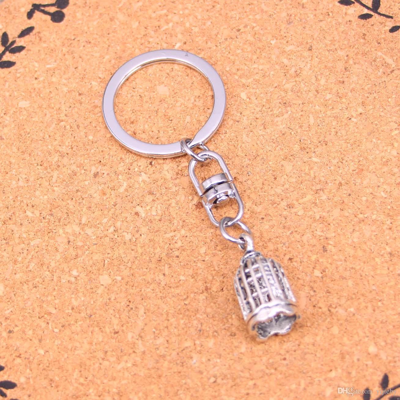 Vintage Birdcage bird Key Rings Fashion Car Keychain Silver Color Metal Key Chains Accessory