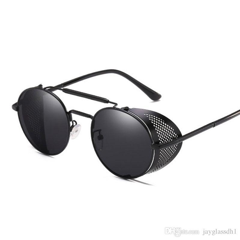 Lunettes De Soleil Steampunk hommes rond vintage 2019 structure métallique or noir Sunnies UV400