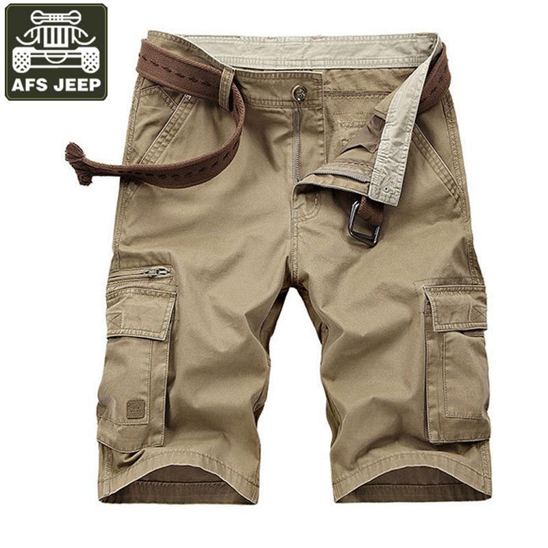 AFS JEEP Pantalones cortos de carga Pantalones cortos de verano Pantalones cortos para hombre Casual Soild Algodón Bermudas Moletom Masculino Plus Tamaño 42 Pantalones cortos Sin cinturón