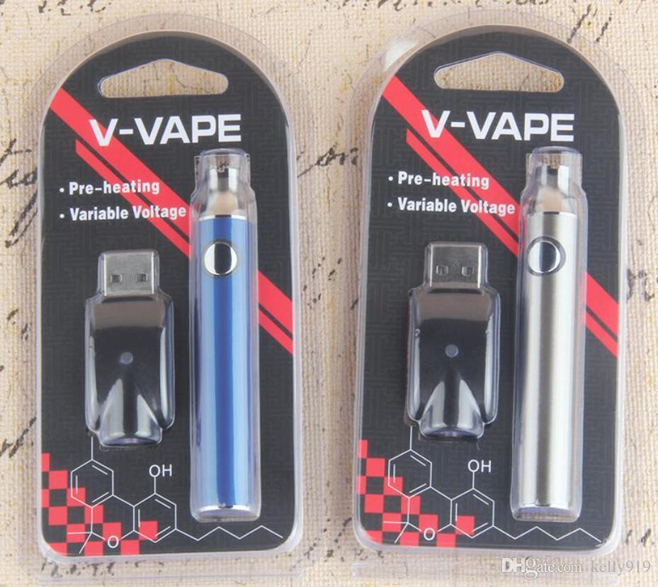 Tension variable Vape batterie 650mah Evod préchauffer stylo de vape réglable pour cartouche de vaporisateur d'huile de cire 510 CE3 E cigarette