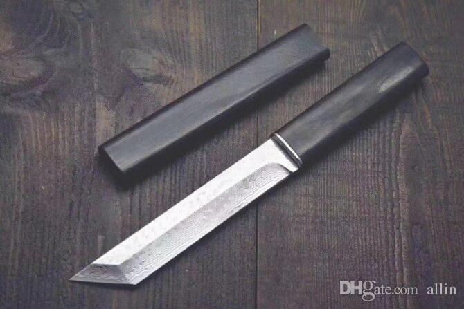 Katana VG10 Damascus Steel Tanto Blade Ebony Poignée à lames fixes Couteaux avec Couteau de collection de gaine en bois