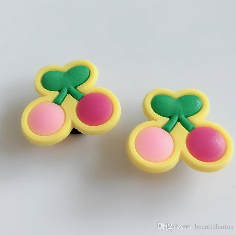 10PCS PVC Cherry Charms Soft decoration accessories Fit Kid's Cross Shoes, Cross Bracelets, Shoe Accessories, Children gift