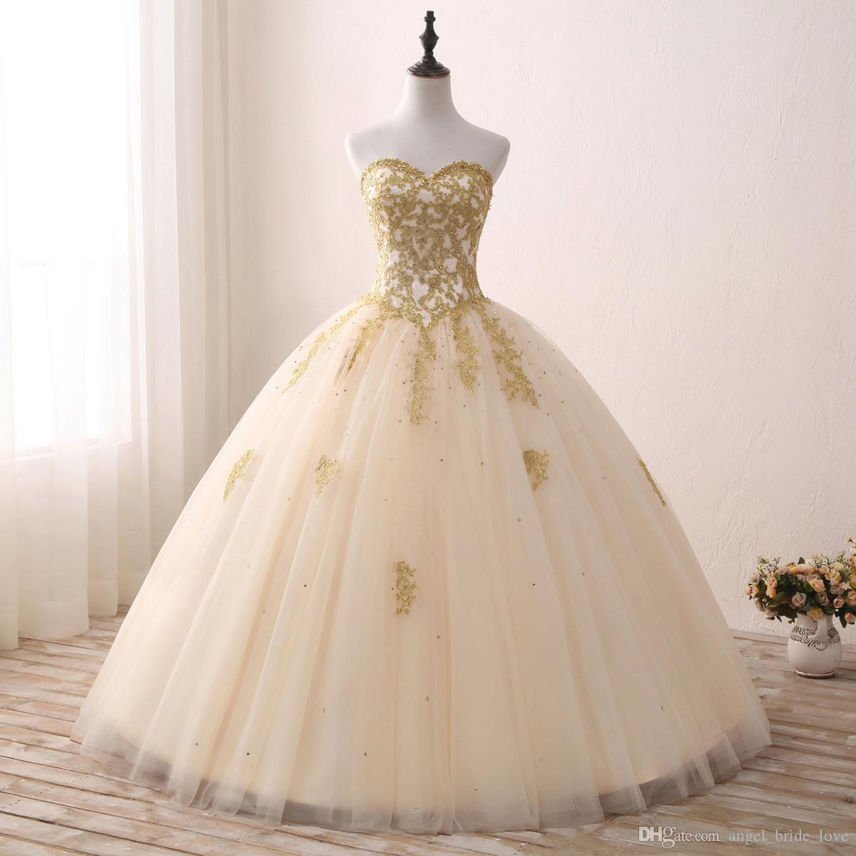 2018 Cheap Real Images Gold Appliqued Ball Gown Quinceanera Dresses Sweetheart Tulle Floor Length Sweet 16 Dresses Party Dress QQ13
