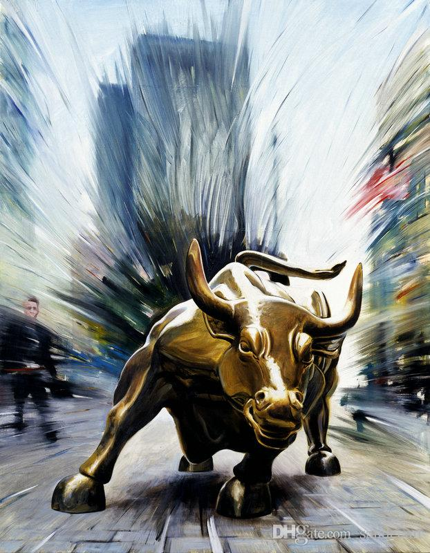 Contemporary Giclee Print Art Wall Street Bull Fierce Abstract Modern Painting Canvas picture for Living Room Home Bedroom Decor gift