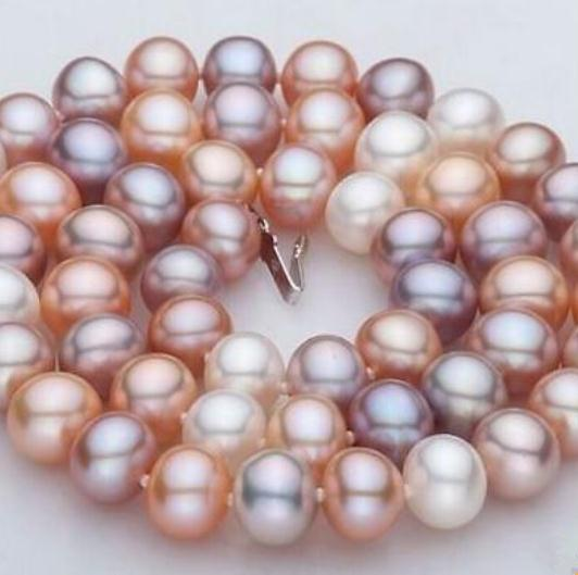 10-11mm Natural South Seas White Pink Pearl Necklace 20inch 14k Gold Clasp