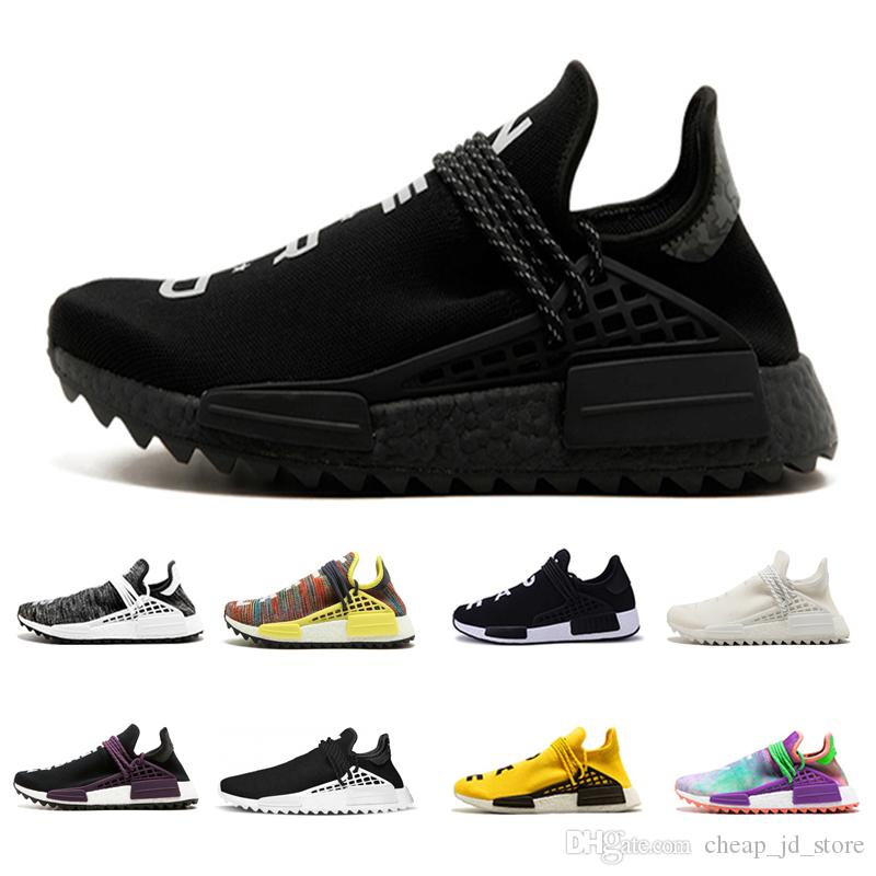 ee76f64cc Mens Human Race Running Shoes pharrell williams Hu trail Cream Core Black  nerd Equality holi nobel ink trainers Women Sports sneaker