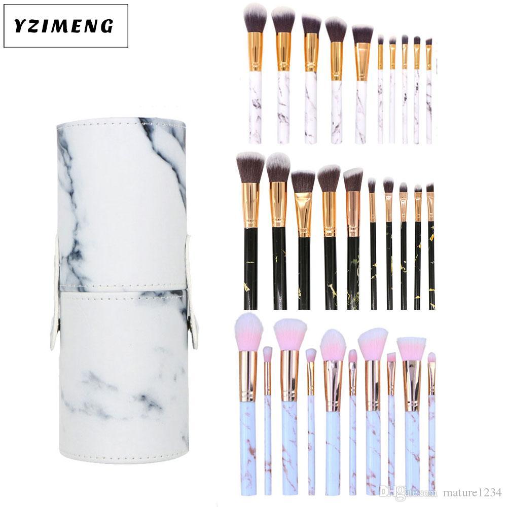 10pcs/set Marble Makeup Brushes Blush Powder Eyebrow Eyeliner Highlight Concealer Contour Foundation Make Up Brush Set