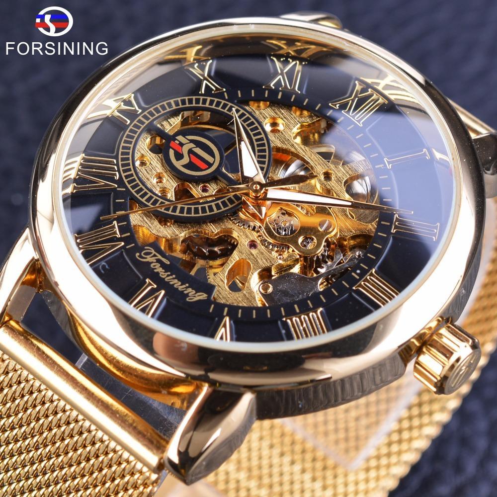 Forsining caja transparente de 2017 Moda Grabado 3D de oro de acero inoxidable de los hombres reloj mecánico Top Esqueleto de envío