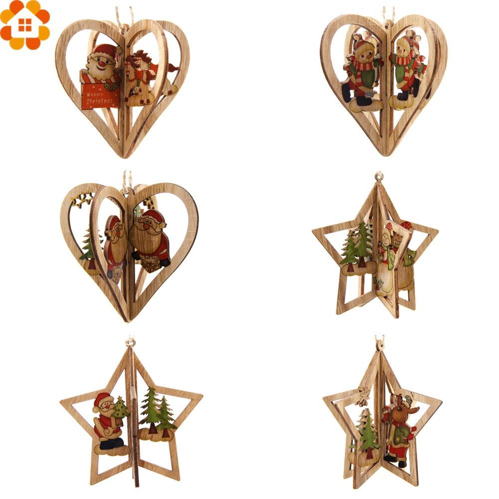 3 Conjuntos 3D Criativo Pingentes De Madeira De Natal Enfeites DIY StarHeart Decorações Do Partido de Natal Xmas Tree Ornaments Caçoa o Presente