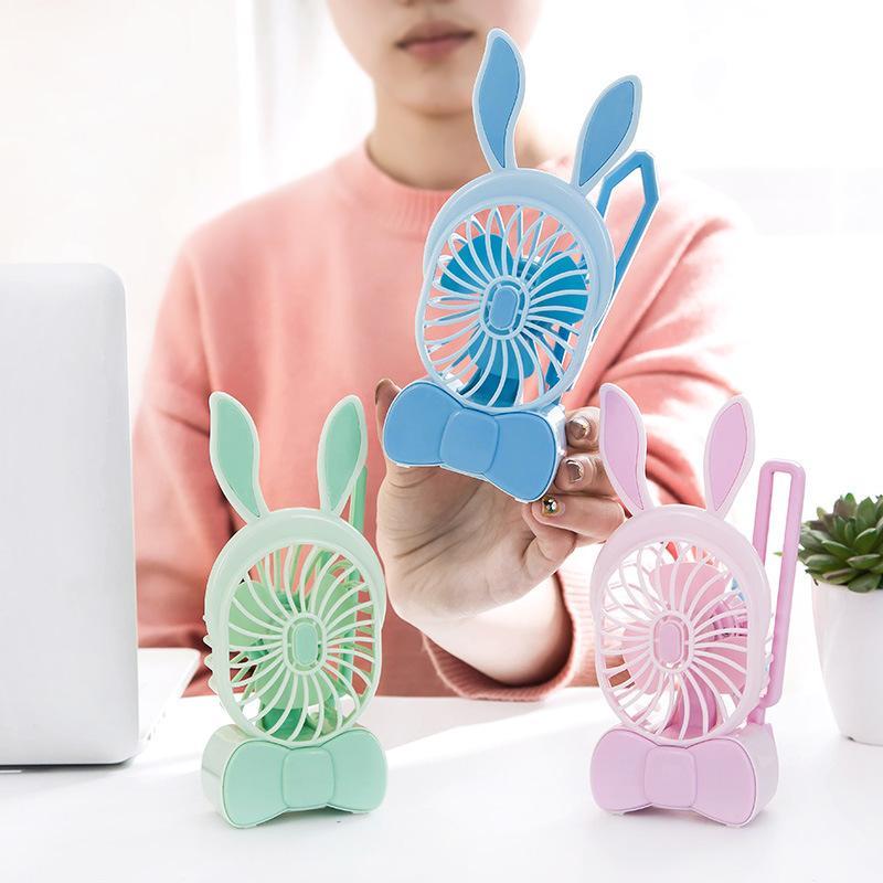 2555 novo recarregável mini ventilador de mão portátil USB rabbit fan fan fan estudante