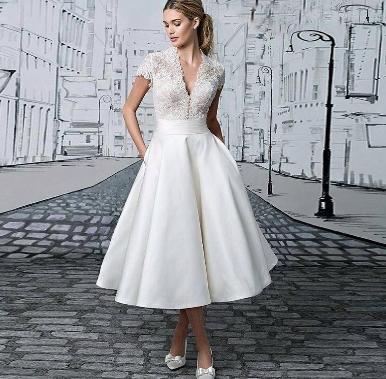 Vintage Lace Tea Length Short Wedding Dresses With Cap Sleeves See Through V Neck 1950s Wedding Bridal Gowns Vestido De Novia Custom Made