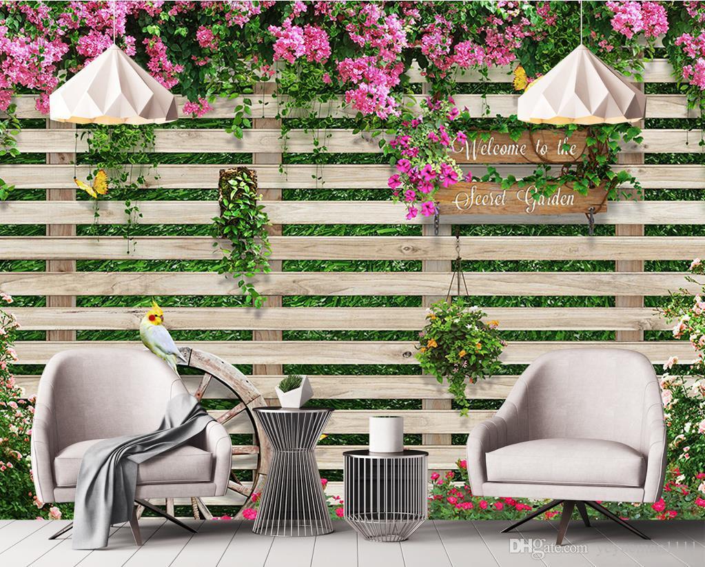 Custom Photo Mural Wallpaper Wooden Board Rose Tv Backdrop Papel