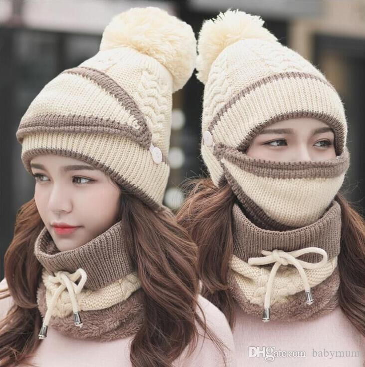 Outdoor winter cycling protective caps scraf thick neck face warmer bike head scarf cap knitted fleece beanie mask set