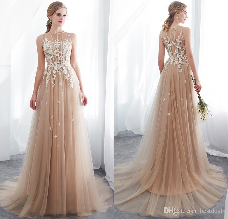 Real Photos 2020 Designer Country Style Champagne Wedding Dresses Illusion Sleeveless Lace Appliqued Western Bobo Bridal Gowns CPS1009