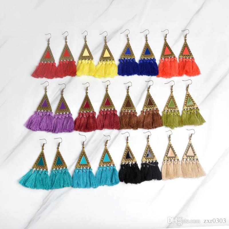 encanto del triángulo con pendientes borla de hilo de seda multi borla Pendientes para mujer de pendiente elegante Boho chic Pendientes para mujer