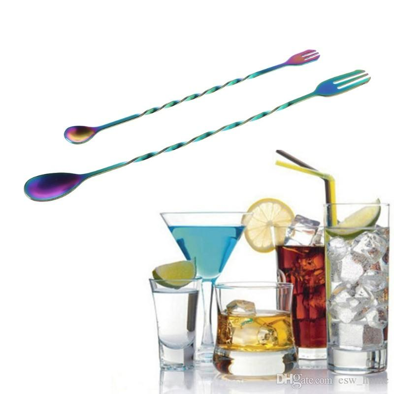 26 см 32 см из нержавеющей стали длинная ручка смешивания ложка вилка твист спираль шейкер коктейль бар инструменты с фрукты вилка ручка