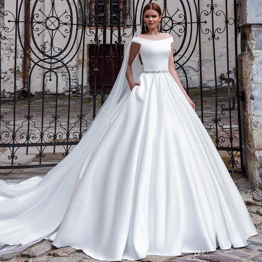 Elegant Satin Wedding Dresses Beaded Sash Bridal Gowns Plus Size Off The Shoulder Robe De Mariée