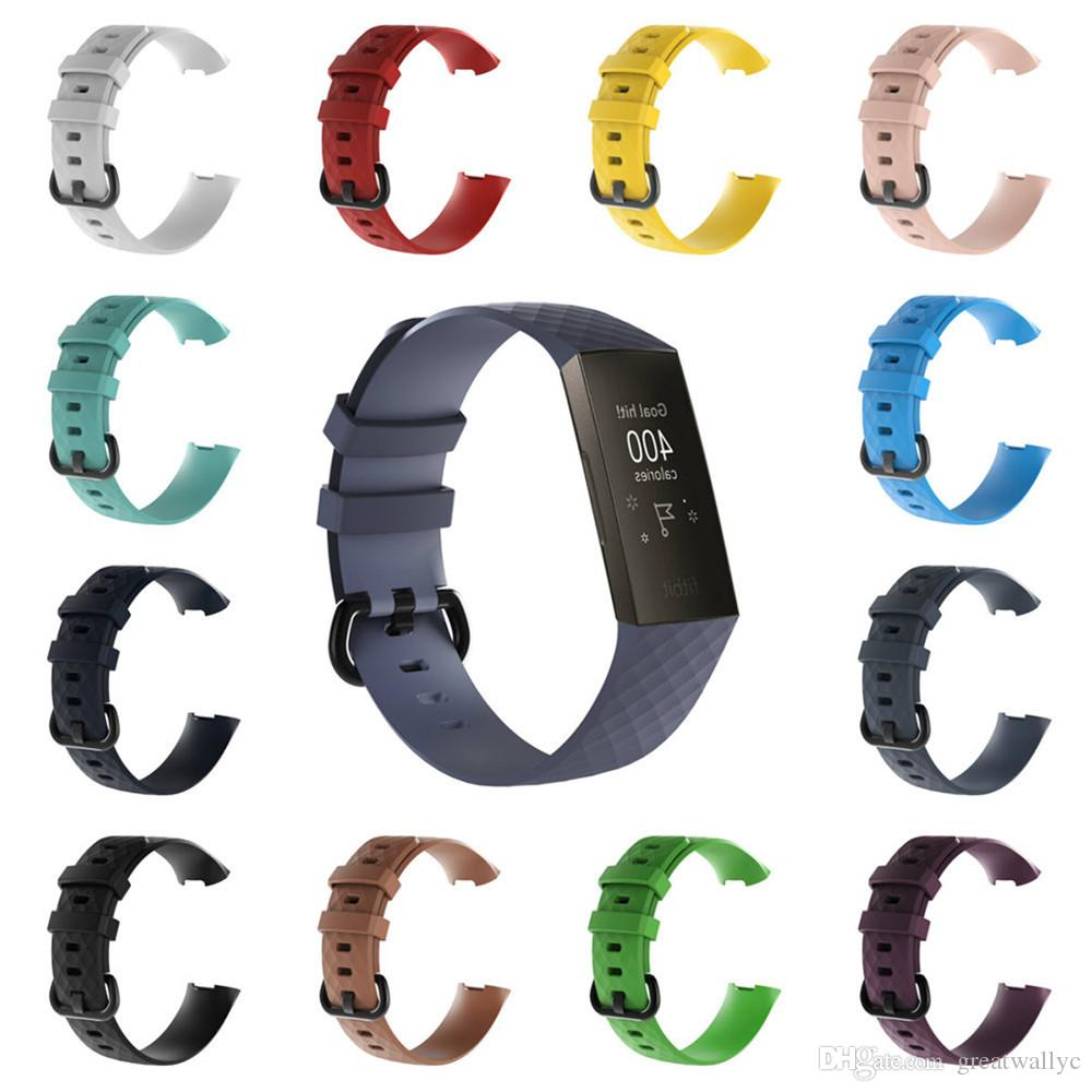 Silicone Strap for Fitbit Charge 3 Smart Bracelet Replacement Watch Band Women Men Sport Watch Strap With Metal Buckle