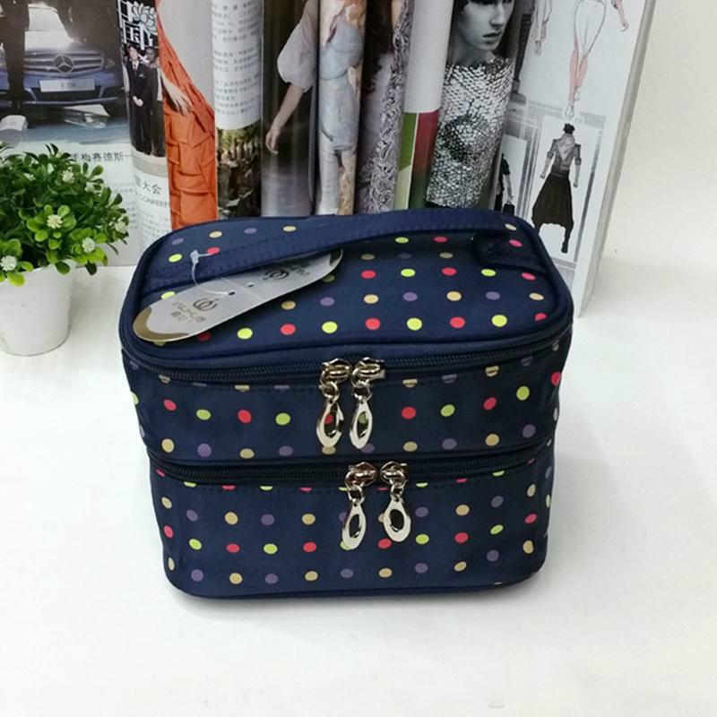 Colorful Dots Printing Toiletry Bag Nylon Large Brush Case Travel Makeup Bag Double Layer Zipper Tote Cosmetic Bag
