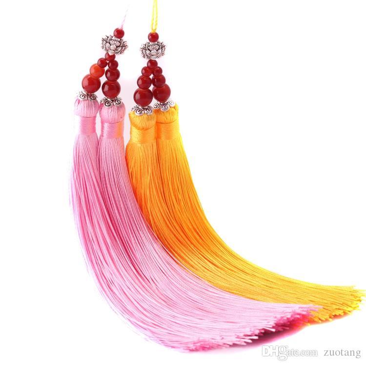 Hecho a mano nudo chino doble borla ventilador decoración del encanto de la mano accesorios del ventilador colgante DIY bolsa colgando 2 unids / lote