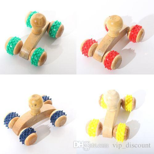 Wood Full-body Four Wheels Wooden Car Roller Relaxing Hand Massage Tool Reflexology Face Hand Foot Back Body Therapy HG