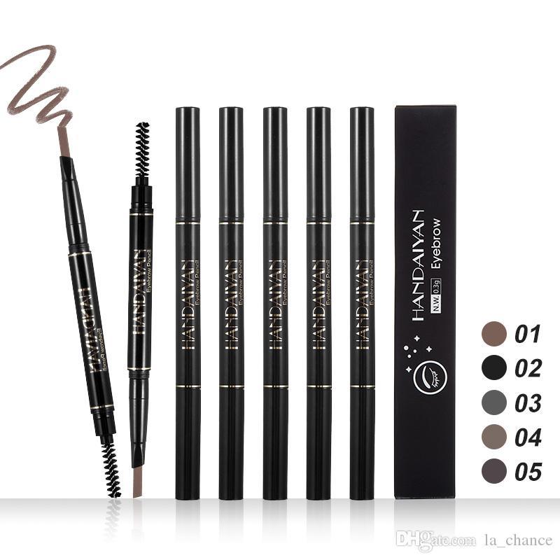Dropshipping 2018 Nouveau Haute qualité Marque Maquillage HANDAIYAN 5 Couleurs Crayon à sourcils à double extrémité Amélioration du sourcil
