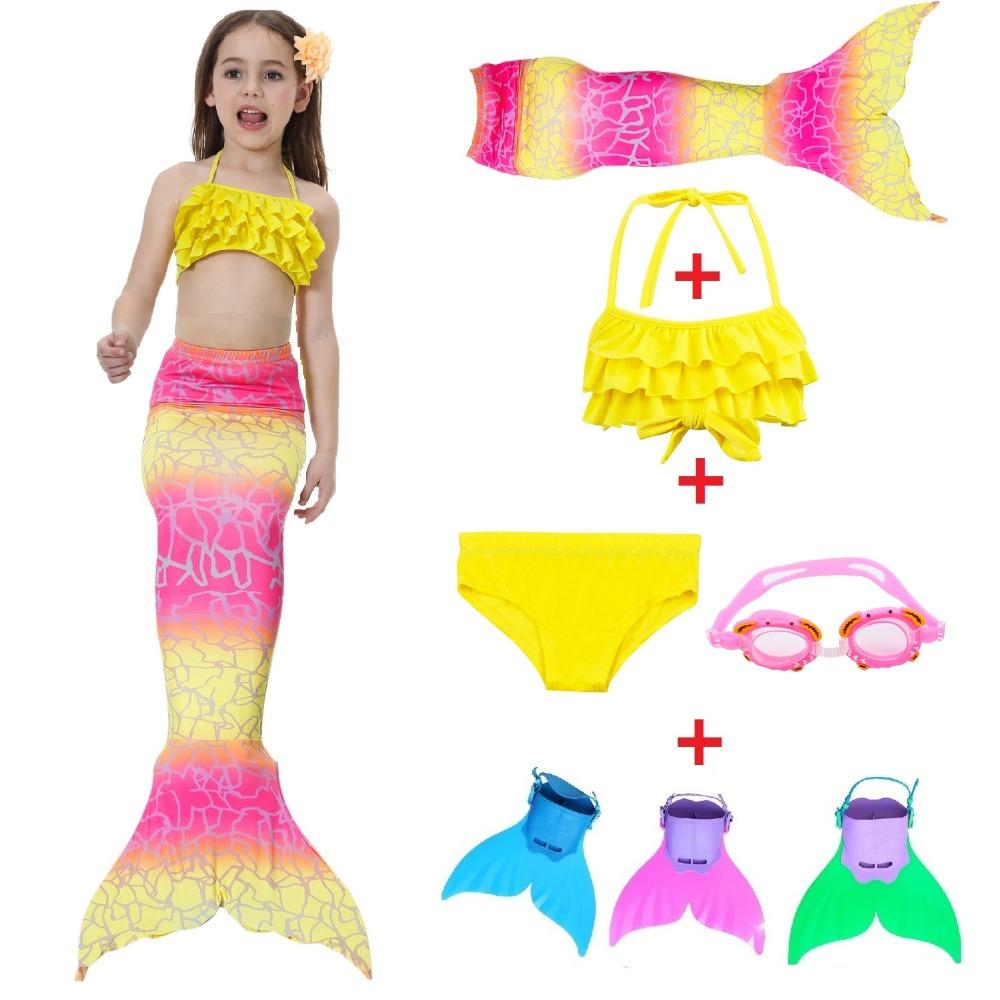 2018 Hot The Little Mermaid Tail Costume Princess Ariel Children Mermaid Tail with fin Cosplay Kids For Girl Fancy Swimsuit