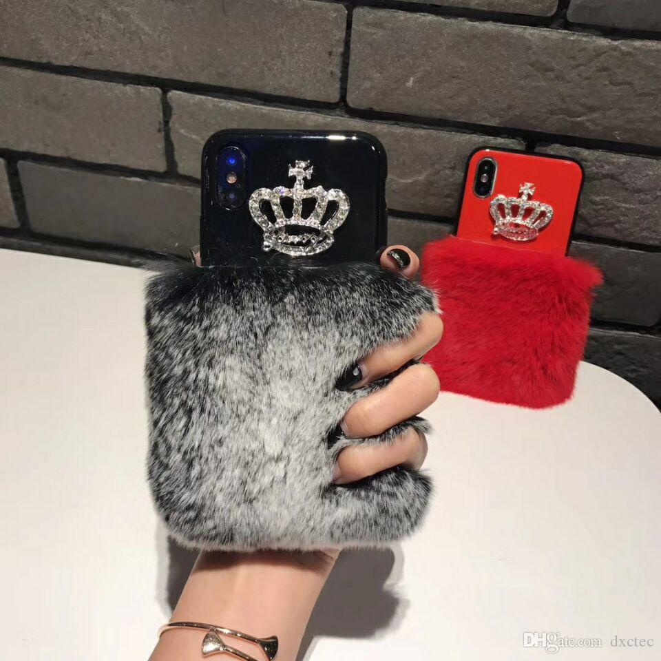 Bling 3D Diamond Crown Rabbit Hair Back Case Fluffy Warm Phone Cover Shell Tide for iPhone X XS 6s 7 8 Plus