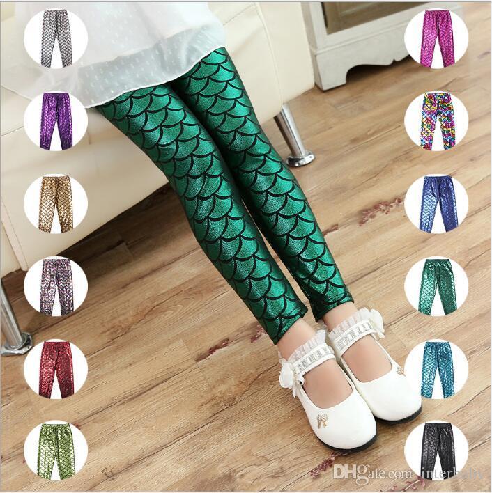 Mermaid Kids Pants Fish Scale Leggings Girls Colorful Digital Printing Tights Baby Shiny Fashion Pants Child Slim Stretchy Trousers TX1