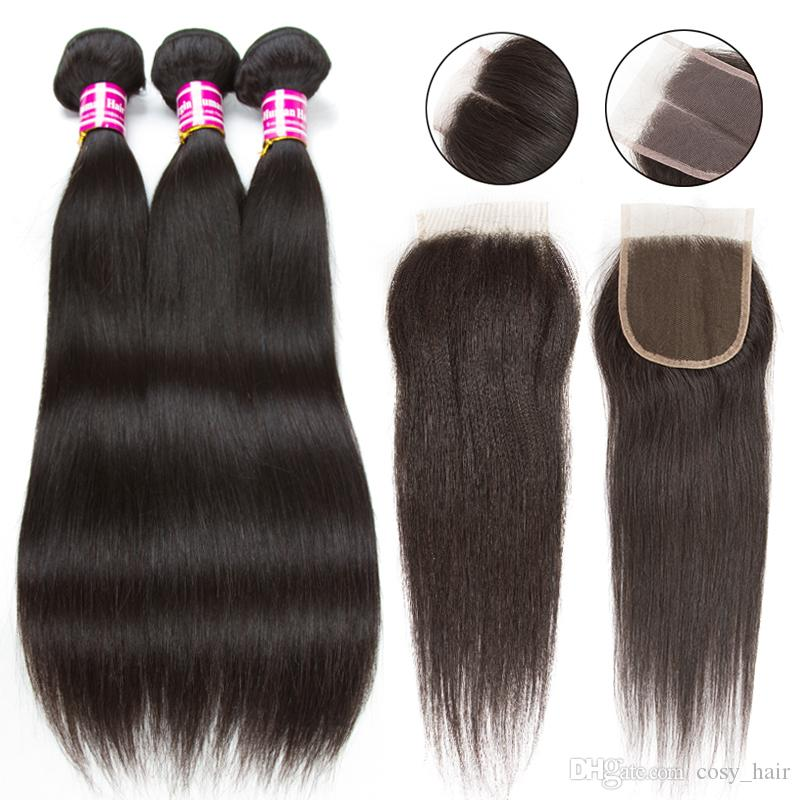 10A бразильские девственные волосы с закрытием расширений 3 пучки бразильские прямые волосы с 4x4 кружева закрытия необработанные Реми человеческих волос ткать