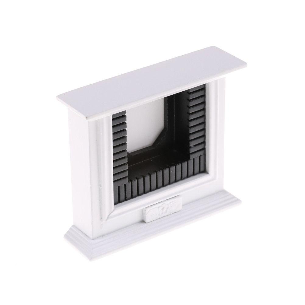 1//12 Scale Miniature White Fireplace Dollhouse Home Decor Furniture