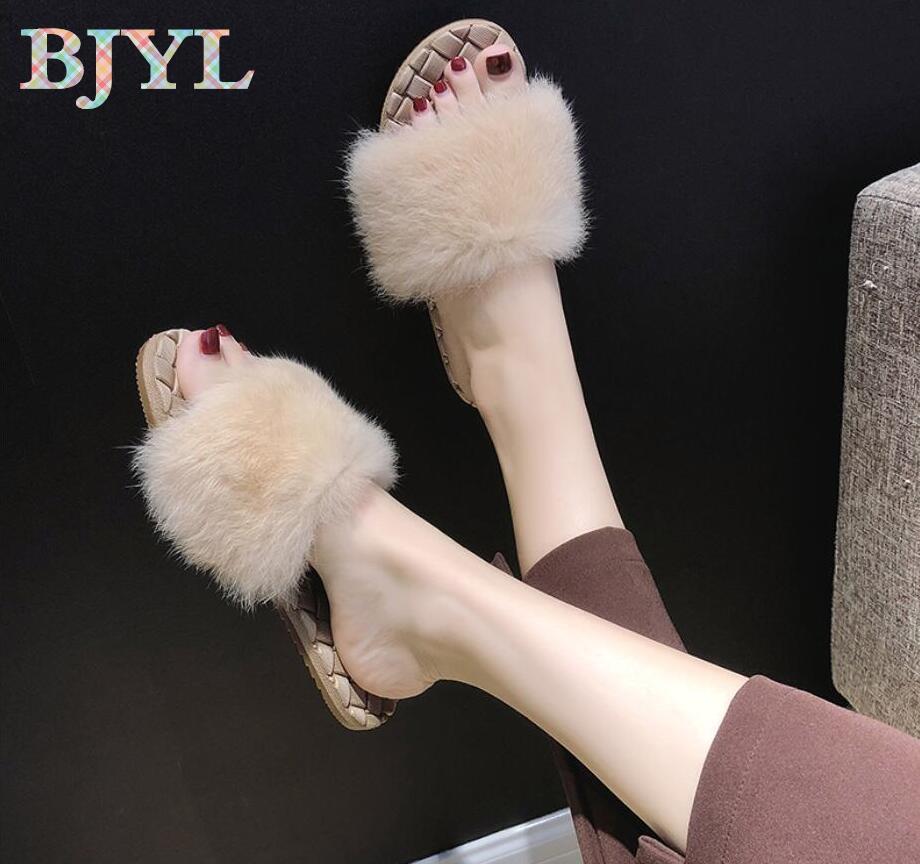 pantofole all'ingrosso donne indossano inverno 2018 nuovi selvatici croce morbida sorella studenti parola pantofole di lana piatte