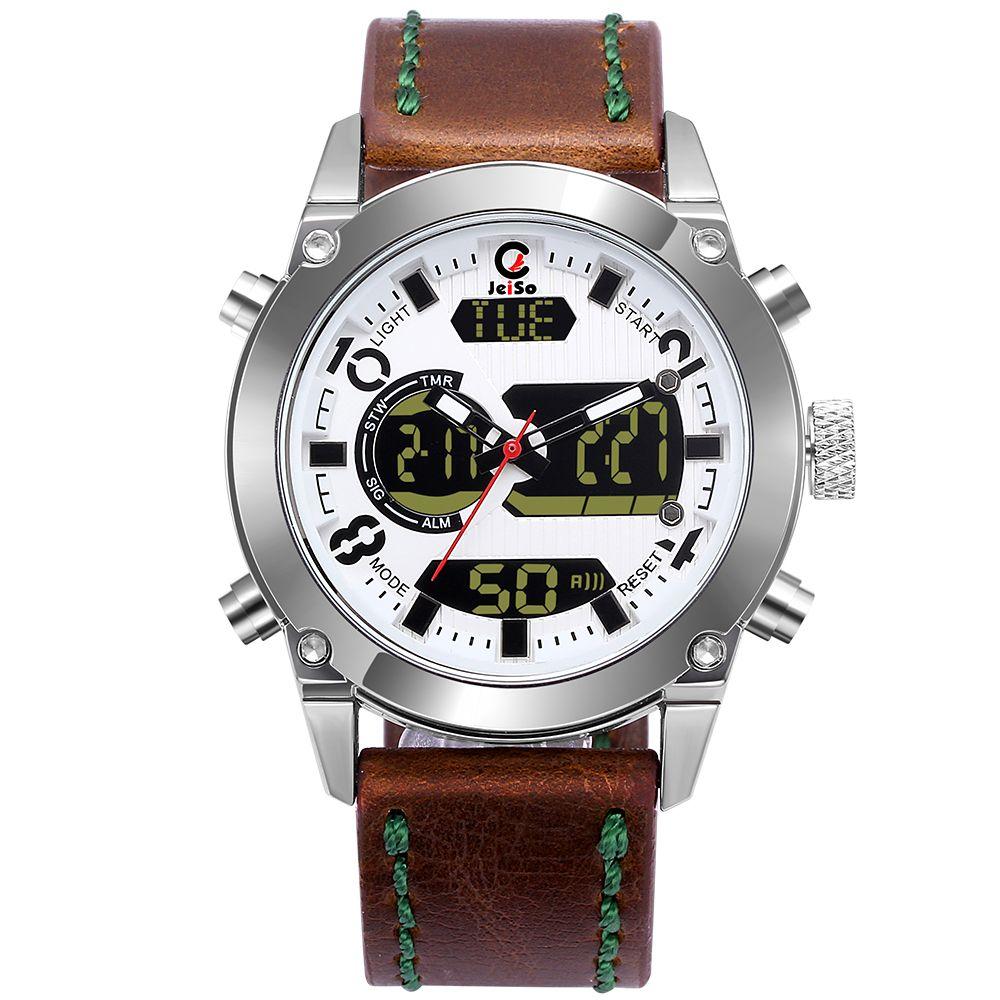 montre homme double affichage bracelet cuir