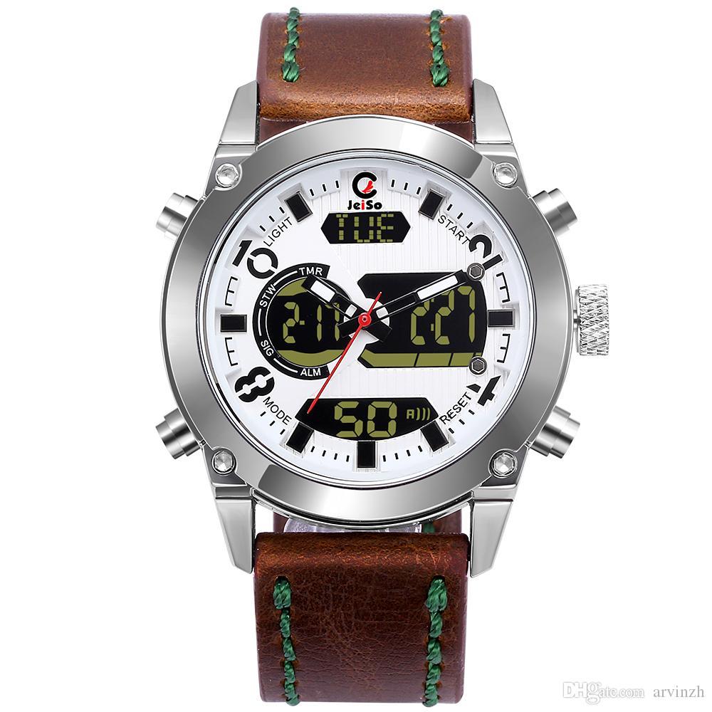 мужские спортивные часы аналоговый цифровой двойной дисплей армия военные часы человек водонепроницаемый кожаный ремешок мода открытый наручные часы