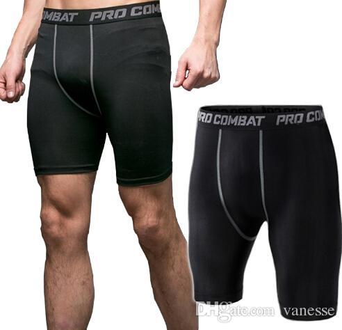 Nuevos hombres de la moda Bodyboulding Shorts pantalones cortos de compresión dryfit pantalones cortos para hombre Fitness sudor elástico gimnasio pantalones cortos