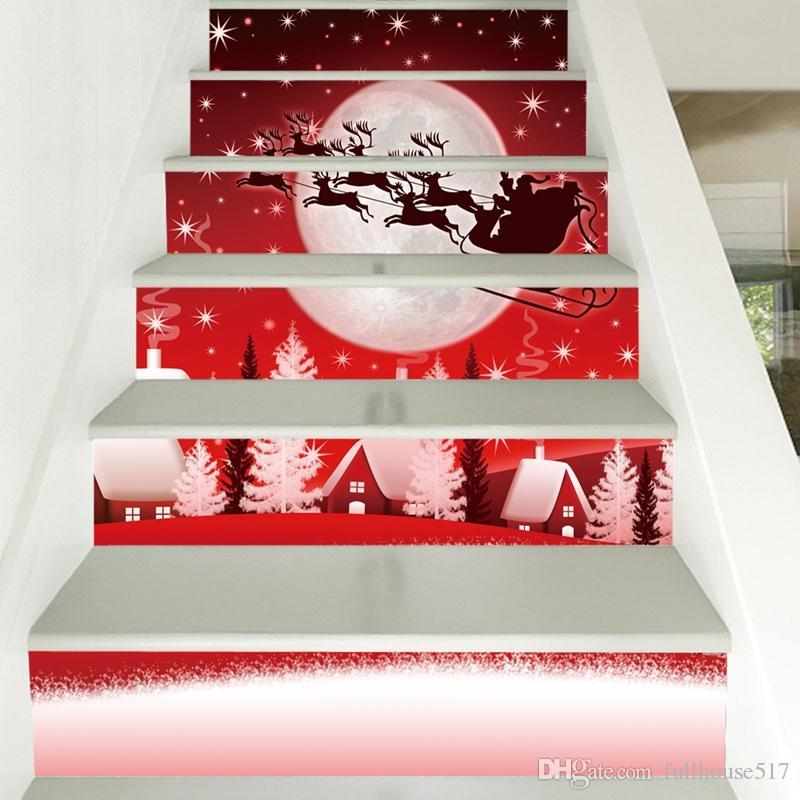 Impermeable de PVC de escalera pegatinas alces de Santa Claus pasos pegatinas Planta Escalera escalera vinilo decorativo de Navidad