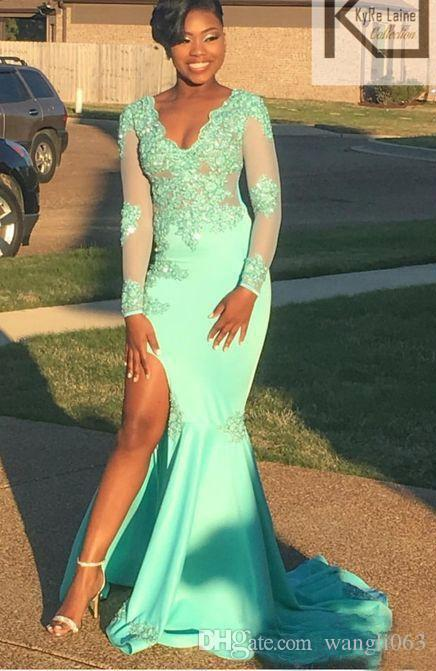 Mint Green African Prom Dresses with Long Sleeves Lace Appliques Side Split Evening Dress Sexy V Neck Black Girls Party Gowns
