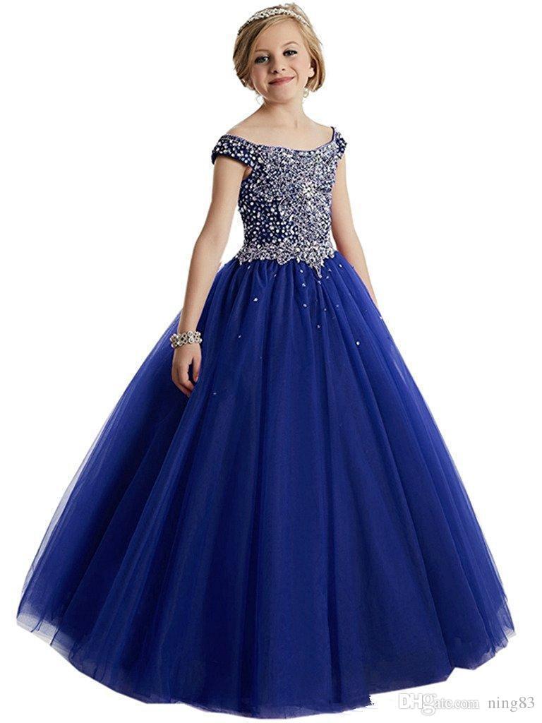 Girls Pageant Dresses Ball Gowns Cascading Ruffles Unique Designer Child Glitz Flower Girls Dresses For Wedding