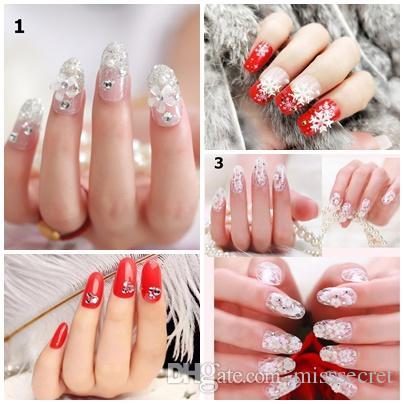 Hot 24Pcs/set False Nails Shining Glittering Fake Nails Bride Nails Full Nail Tips Nail Art