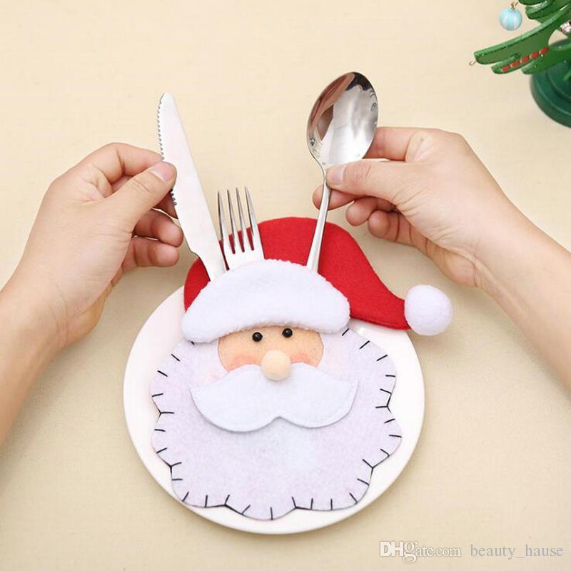 12 шт. Санта-Клаус вилка нож сумки рождественские столовые приборы держатели для праздника Рождества партии посуда украшения дома ужин Декоративный набор